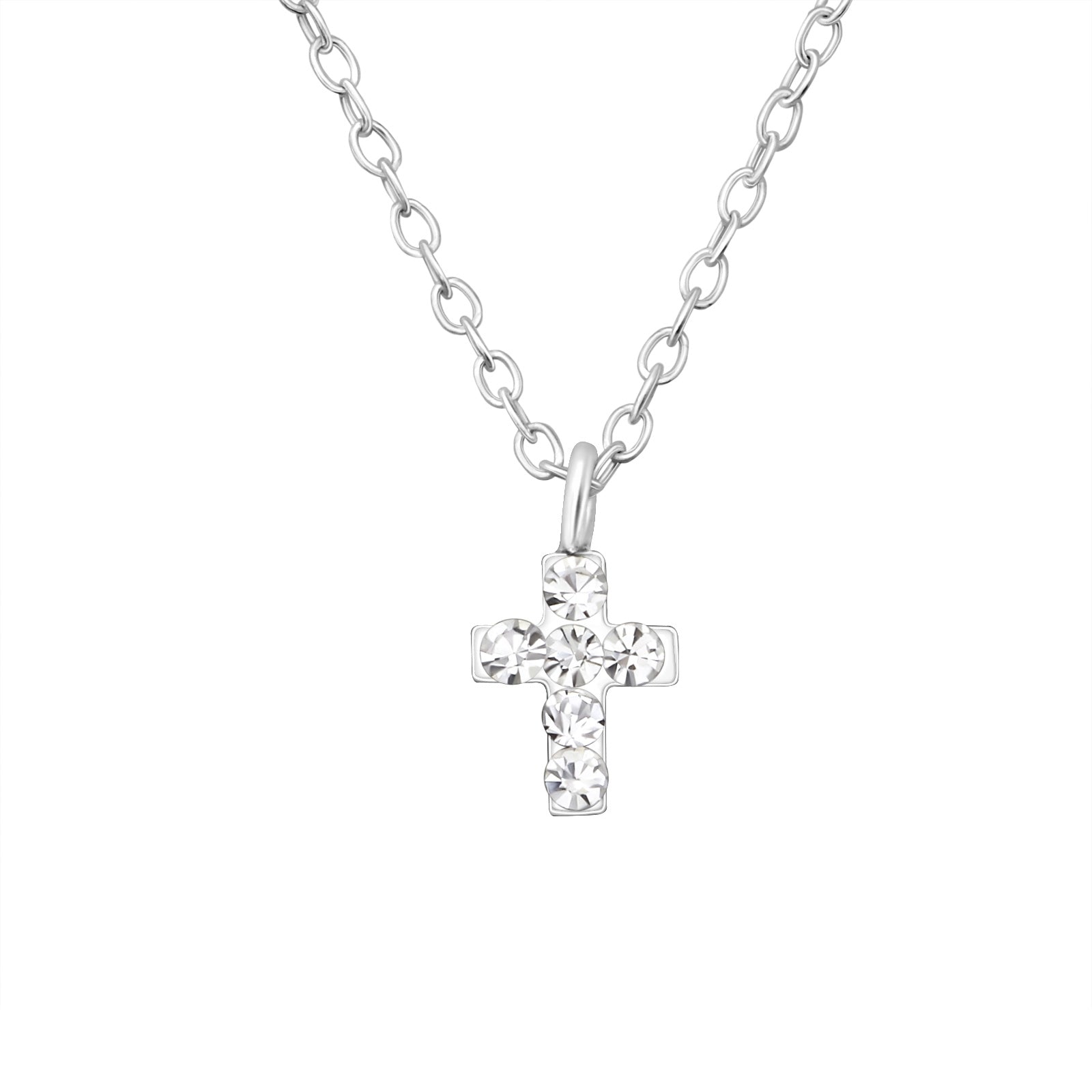 Children's Sterling Silver and Crystal Cross Necklace