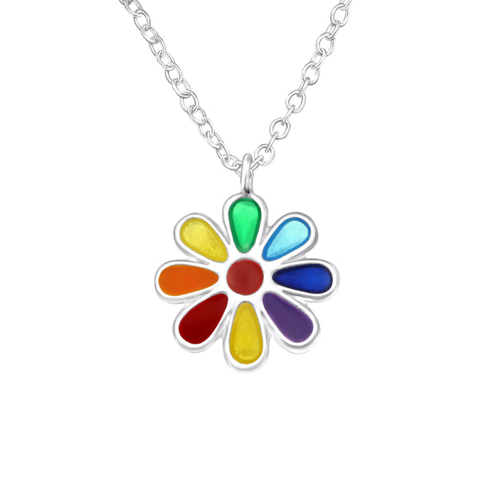 Flower - Rainbow & Silver Necklace
