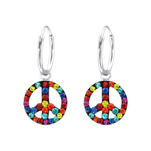 Load image into Gallery viewer, Peace Symbol Crystal & Silver Ear Hoops
