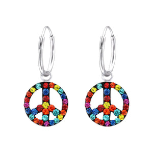 Peace Symbol Crystal & Silver Ear Hoops