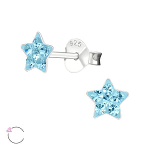 Blue Star Silver & Crystal Colourful Stud Earrings