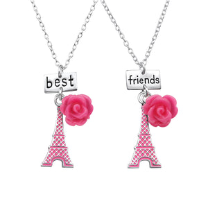 Eiffel Towers And Flowers And Best Friends Silver Necklace
