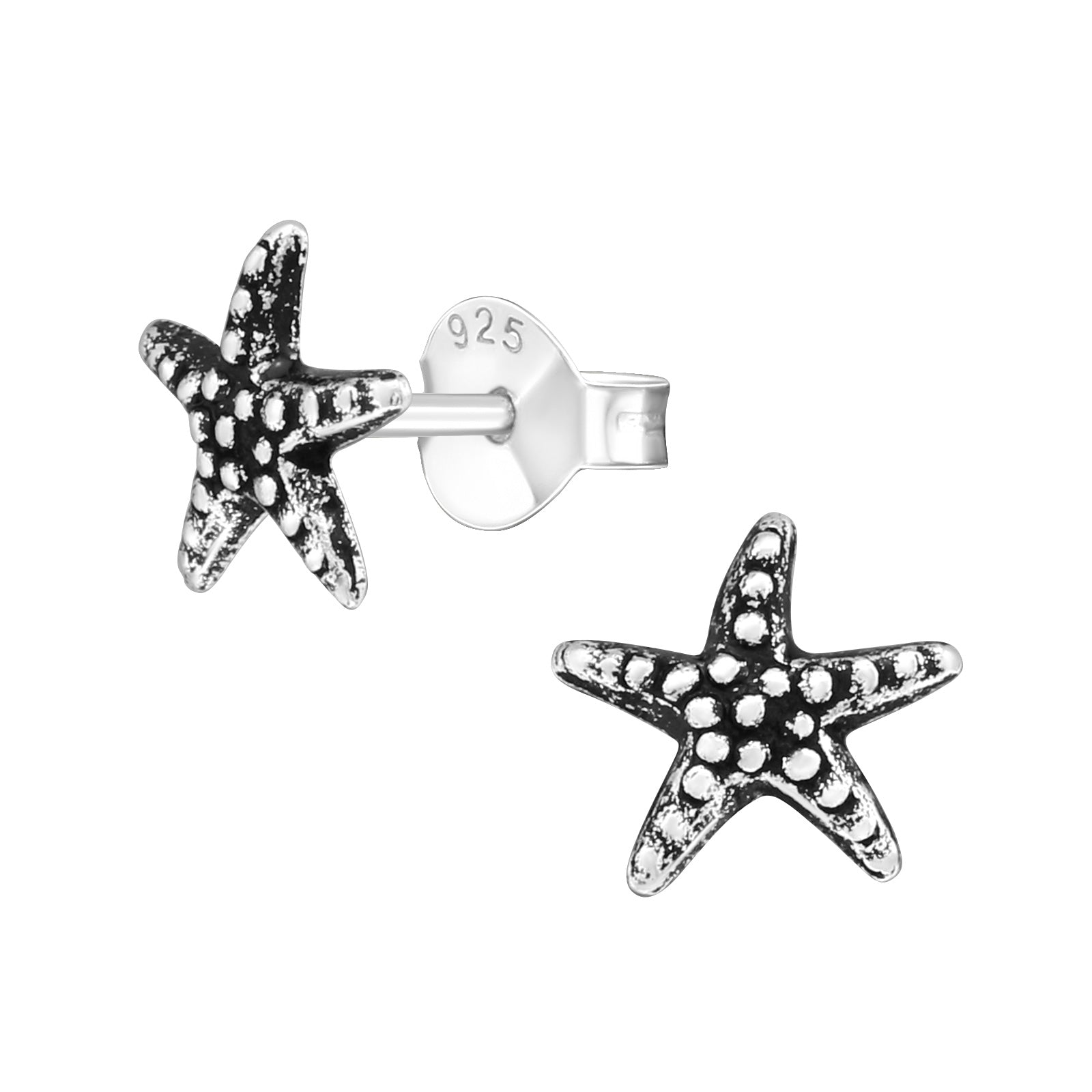 Starfish Solid Silver Plain Stud Earrings