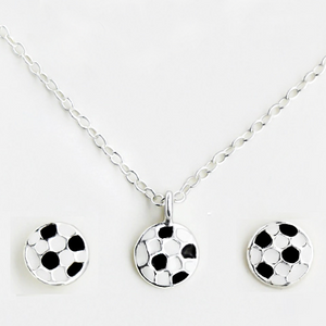 Football Silver Children's Necklace & Earrings Set