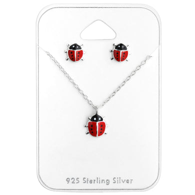 Ladybird Silver Necklace and Earrings Set