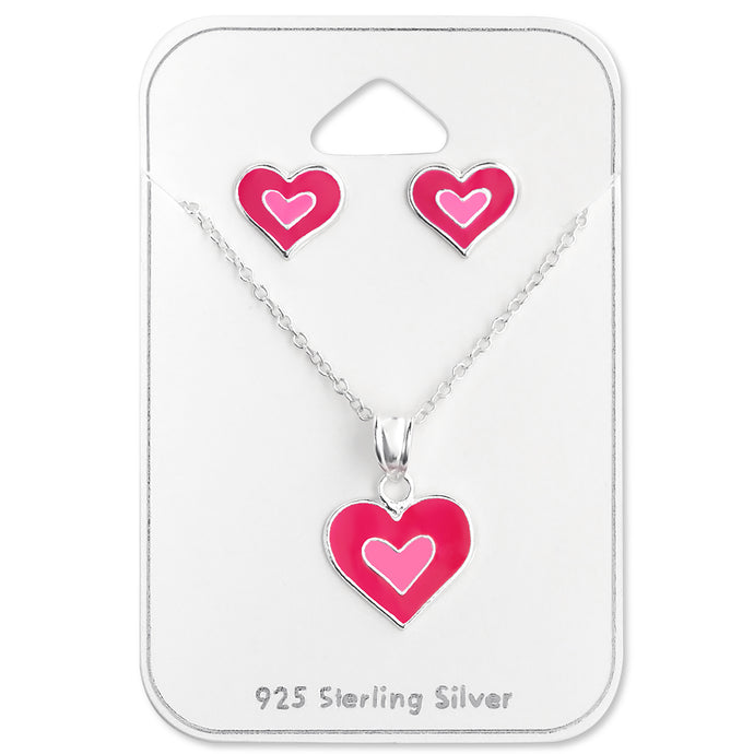 Heart Silver Necklace and Earrings Set