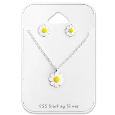Daisy Silver Necklace and Earrings Set