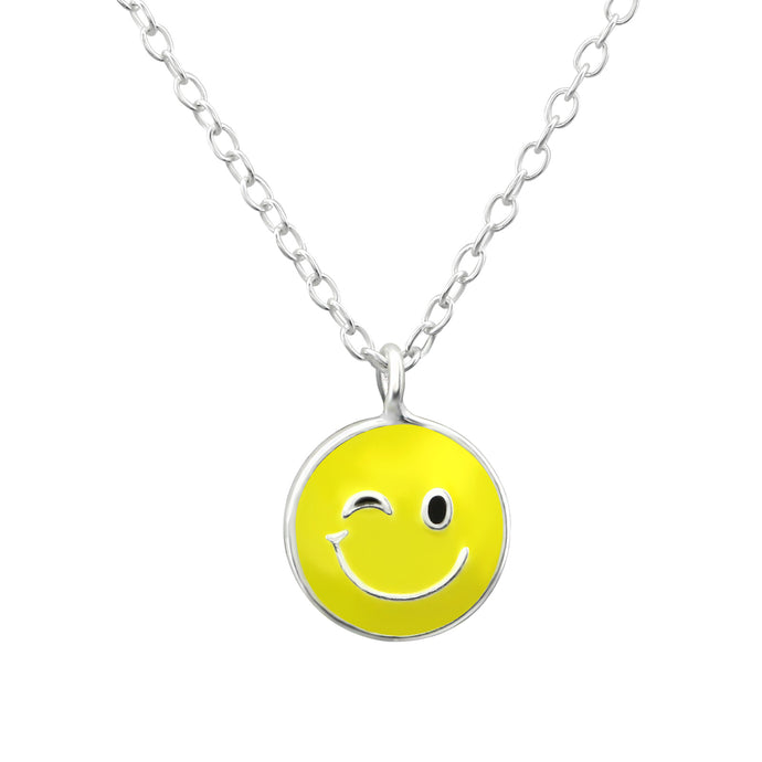Wink Face Emoji Silver Children's Necklace