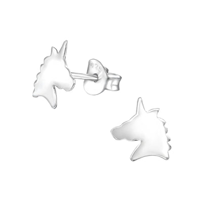 Unicorn Solid Silver Stud Earrings