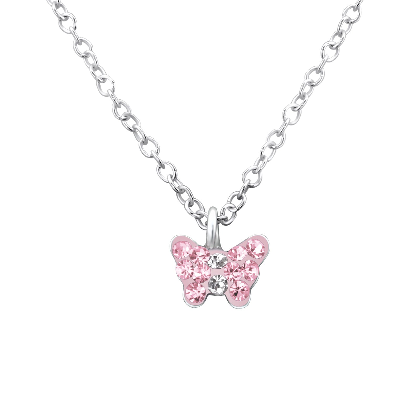 Pink Crystal & Silver Children's Butterfly Necklace