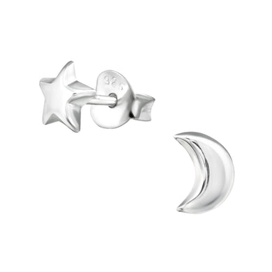 Star & Moon Silver Plain Stud Earrings