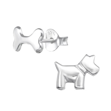 Dog & Bone Solid Silver Stud Earrings