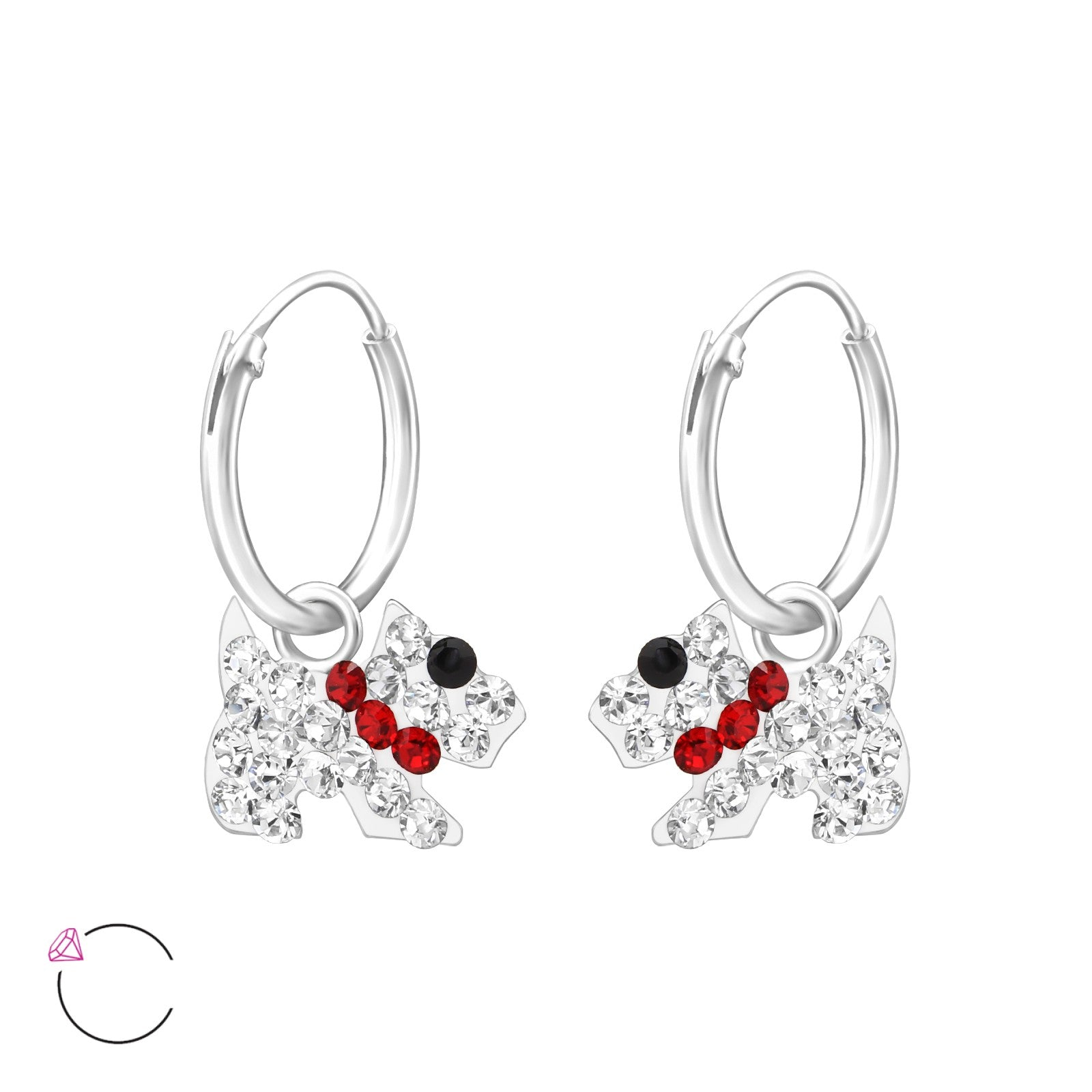 Dog Crystal & Silver Ear Hoops