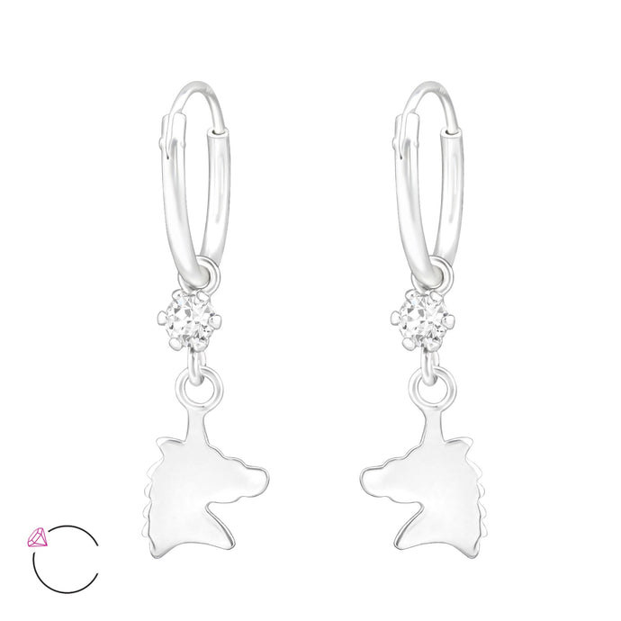 Unicorn Solid Silver Ear Hoops