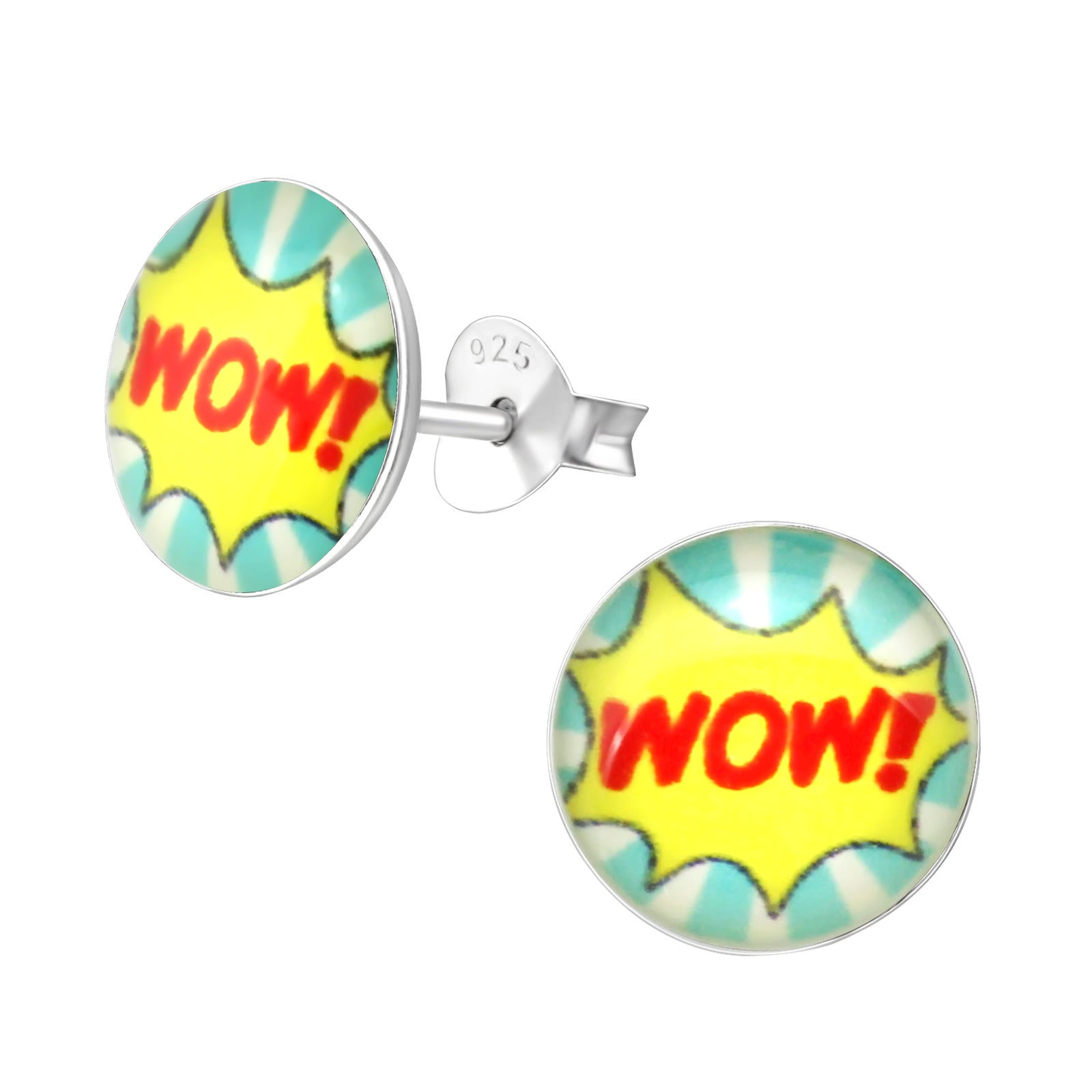 """wow!"" Silver Colourful Stud Earrings"