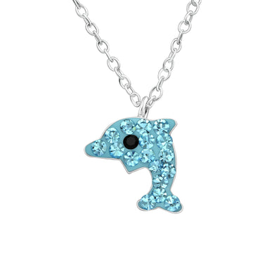 Beautiful blue crystal & silver dolphin children's necklace.