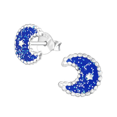Moon Silver Colourful Stud Earrings