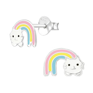 Rainbow Cat Silver Colourful Stud Earrings