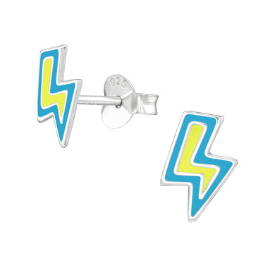 Comic Lightning Bolt Silver Stud Earrings
