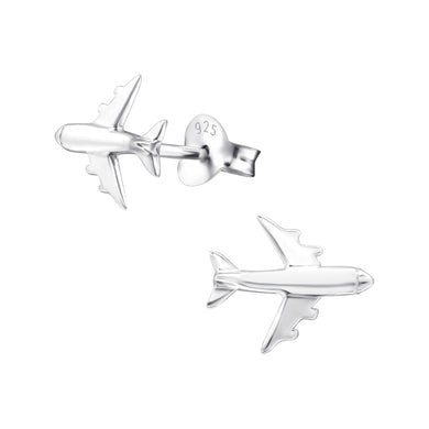 Aeroplane Solid Silver Plain Stud Earrings