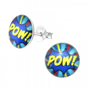 """pow!"" Silver Colourful Stud Earrings"