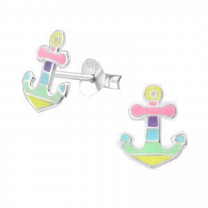 Anchor Silver Colourful Stud Earrings