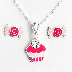 Candy Lovers Silver Necklace and Earrings Set
