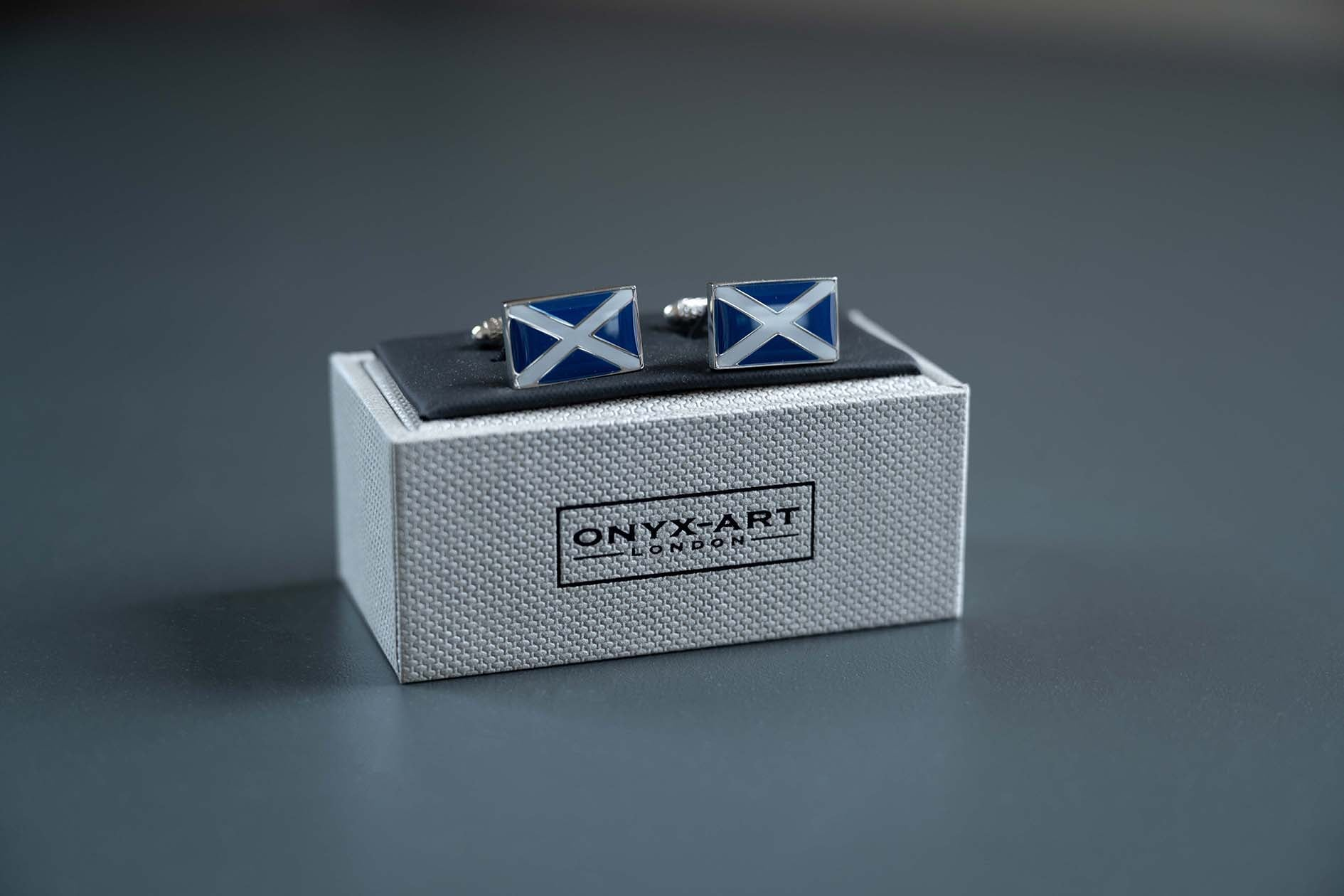 Onyx Art Cufflinks - Scotland Flag