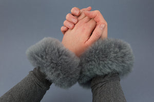 Grey alpaca fur cuff accessories