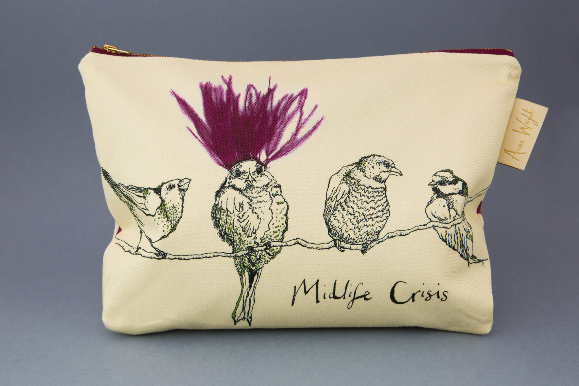 "Anna Wright washbag ""Midlife Crisis"""