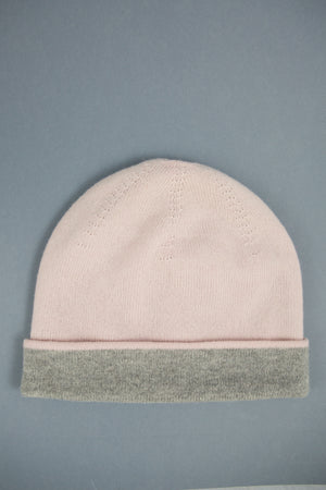 Two Tone Pink & Grey Beanie Hat