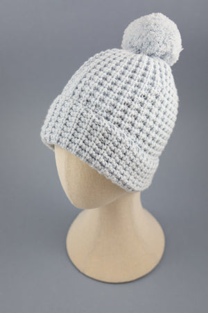 Powder blue bobble knit hat