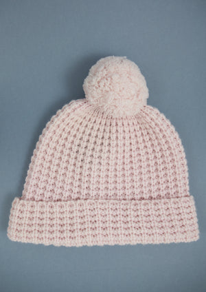 Bobble knit powder pink hat