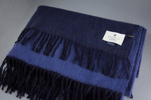 Begg & Co 100% Cashmere Woven Throw Navy Blue Jay