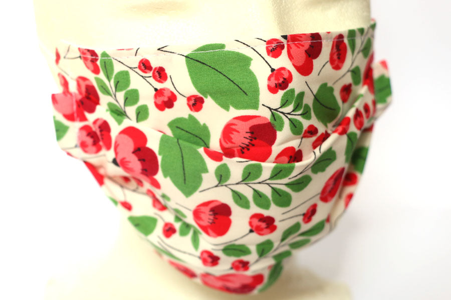 *NEW* Small Poppy and Leaf Print - Cotton Face Masks