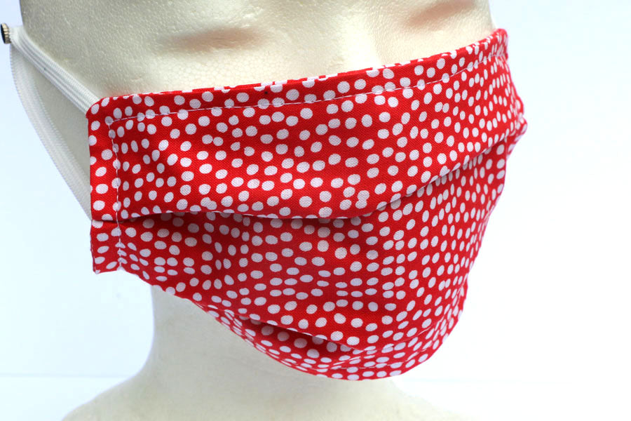 Flurry Poppy Red with White Dots Face Mask - Cotton Face Masks