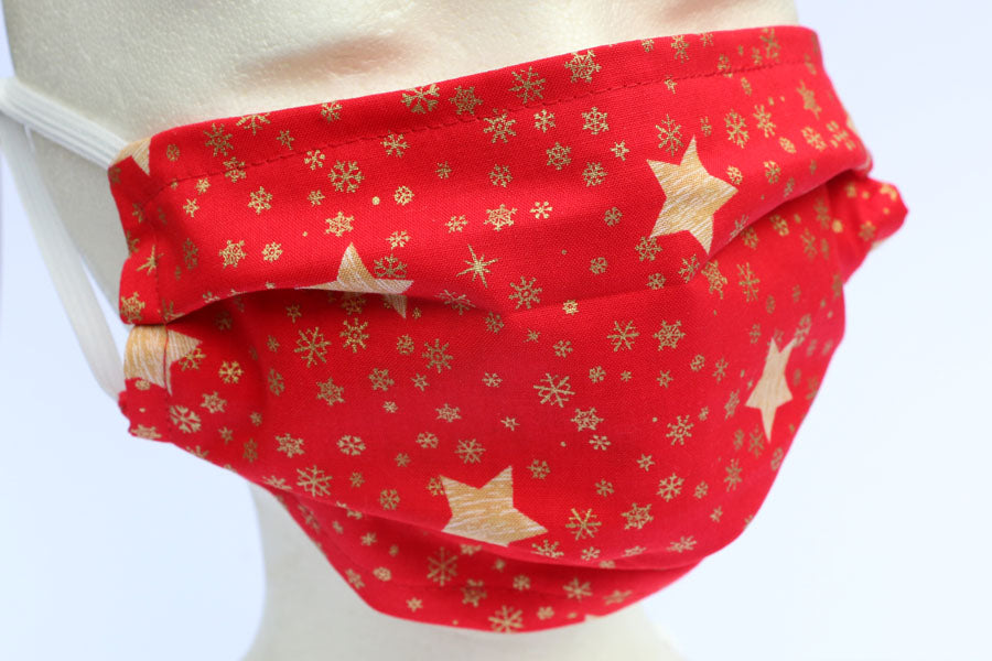 Red with Gold Stars Face Mask - Cotton Face Masks