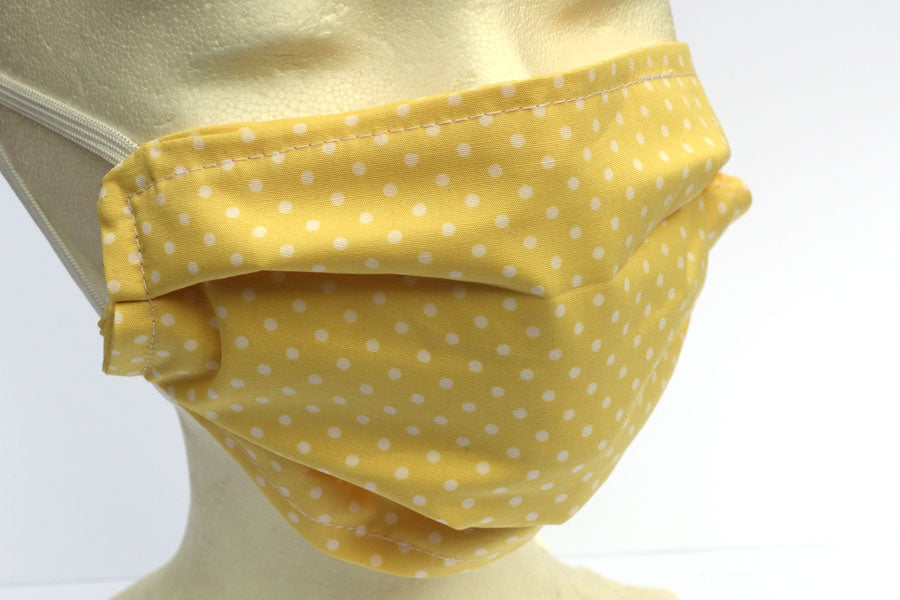 Soft Yellow with White Dots Face Mask - Cotton Face Masks