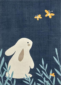 White Bunny Kids Rug in Blue Cloud