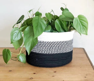 Black Ombré Cotton Basket