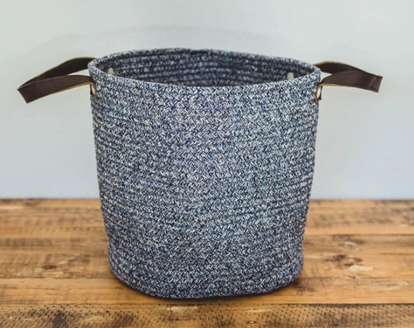 Blue Cotton Basket with Faux Leather Handles