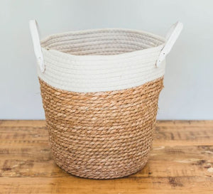 White Two-tone Basket with Leather Handles
