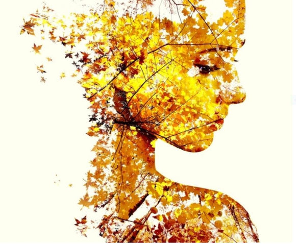 Autumn Lady Canvas Wall Art