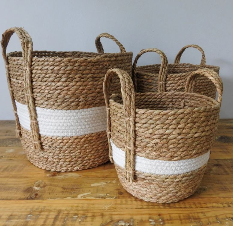 Natural and White Stripe Basket with Hemp Handles