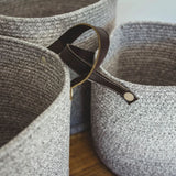 Grey Cotton Basket with Faux Leather Handles