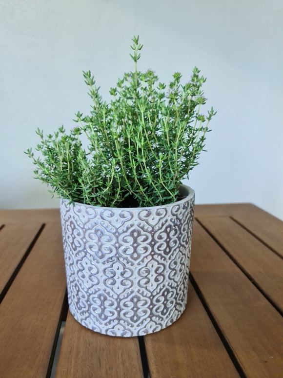 Plant Pot Silver/Grey Pattern