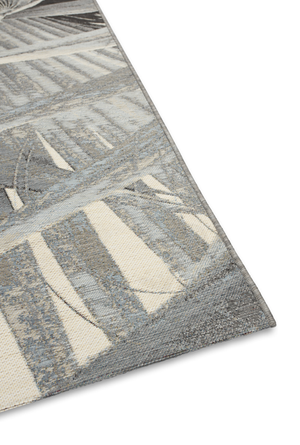 Fan Leaf Rug in Silver