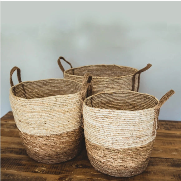 Natural Two Tone Basket with Hemp Handles