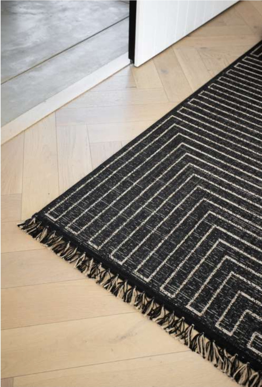 Linear Rug in Black, New Stock 31 July 2021