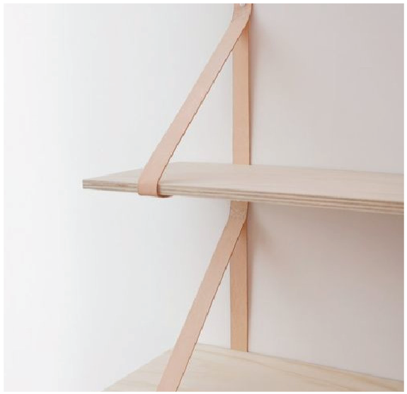Floating Shelf on Leather Straps